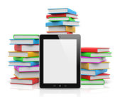 Tablet Pc Ahead of Piles of Books — Stock Photo