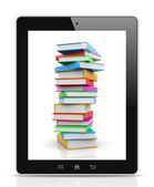 Tablet Pc Showing a Pile of Books — Stock Photo
