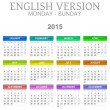 2015 Calendar English Language Version Mon - Sun — Stockfoto #47988209