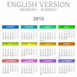 2015 Calendar English Language Version Mon - Sun — Stock Photo #47988209
