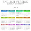 2015 Calendar English Language Version Sun - Sat — Zdjęcie stockowe #47988255