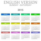 2015 Calendar English Language Version Sun - Sat — Stock Photo