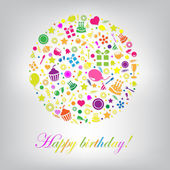 Colorful Happy Birthday Card — Stock Vector