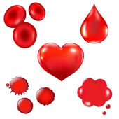 Set With Blood Drop And Heart — Stock Vector