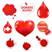 большой набор с капли крови и сердца — Cтоковый вектор