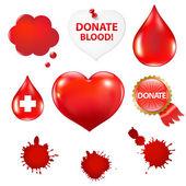 Grote reeks met bloed drop en hart — Stockvector