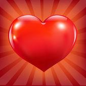赤いハートとサンバースト ポスター — ストックベクタ