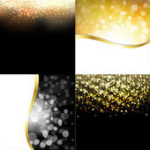Gold Abstract Dark Backgrounds Set — Stock Vector