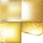 Golden Backgrounds Set With Stars — Stock Vector