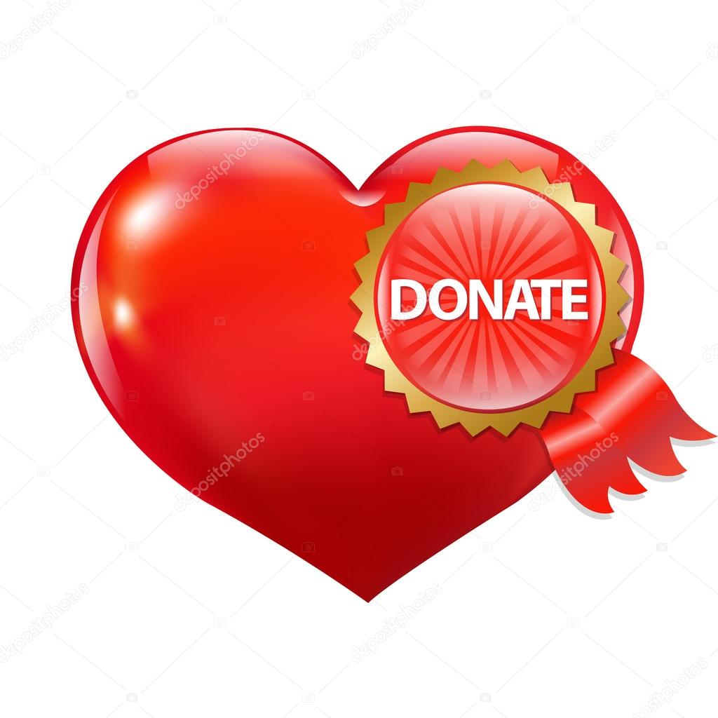 Red Heart With Label Donate, Vector Illustration — Stock Vector #12716616