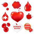 Big Collection With Blood Drop And Heart - Stock Vector