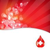 Czerwone tło z czerwona kropla krwi — Wektor stockowy