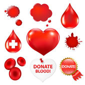 Big Collection With Blood Drop And Heart — Stock Vector