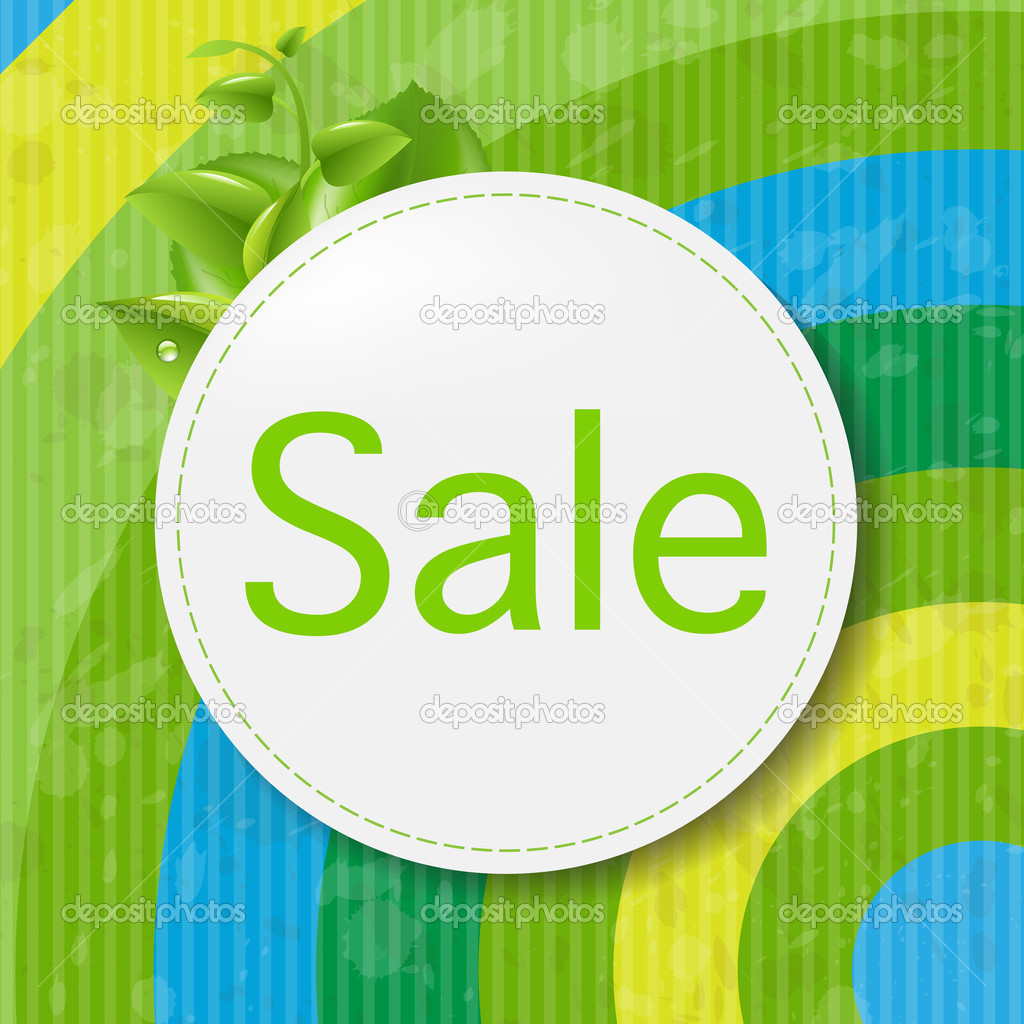Green Sale Poster With Color Line, Vector Illustration — ベクター素材ストック #13416034