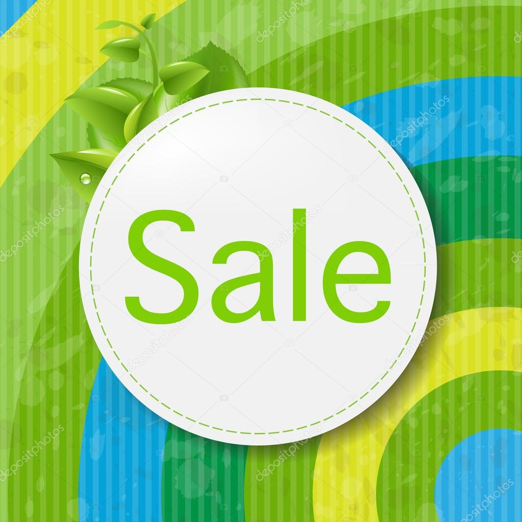 Green Sale Poster With Color Line, Vector Illustration   #13416034