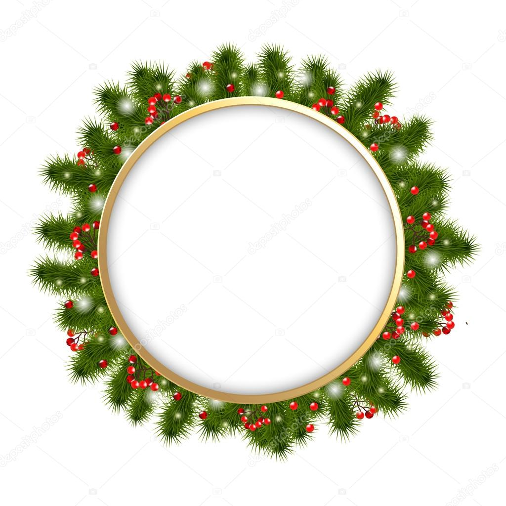 Christmas Composition With Fir-tree Branches, Vector Illustration  Stock Vector #13416105