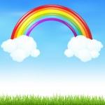 arco iris colorido con la hierba — Vector de stock