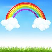 Arc en ciel coloré avec de l'herbe — Vecteur