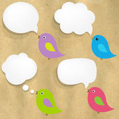 Cardboard Structure With White Paper Speech Bubble And Birds — Stockvektor
