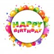 Happy Birthday Colorful Card With Balloons — Stock Vector