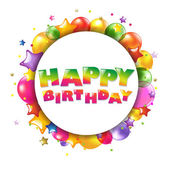 Colorida tarjeta del feliz cumpleaños con globos — Vector de stock