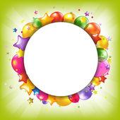 お誕生日おめでとう音声バブルとカラフルなカード — ストックベクタ