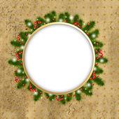 Frontera de navidad con el árbol de año nuevo — Vector de stock