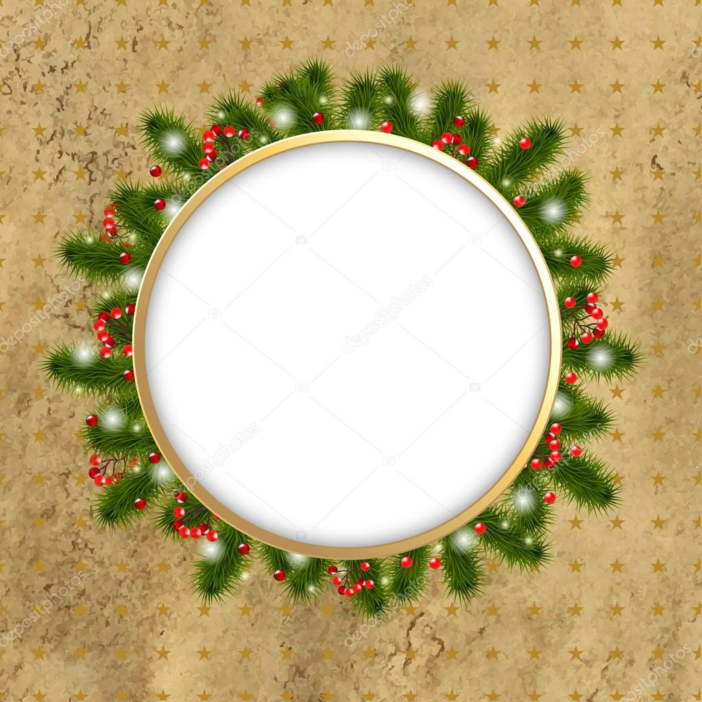 Christmas Border With New Years Tree, Vector Illustration    #13572165