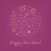 Lilac Happy New Year Card — Stock Vector