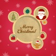Retro Christmas Web Design Bubbles And Santa Claus — Stock Vector