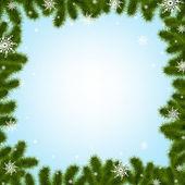 Ramos de pinheiro fronteira com flocos de neve — Vetorial Stock