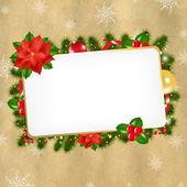 Christmas Vintage Blank Gift Tag — Stock Vector