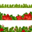 Borders Fir-tree Branches With Holly Berry — Imagen vectorial