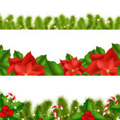 Borders Fir-tree Branches With Holly Berry — Vector de stock