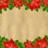 Red Poinsettia Borders With Old Paper — Stock Vector