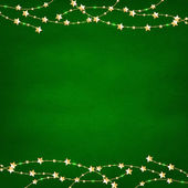 Xmas Green Retro Background With Gold Stars Garland — Stock Vector