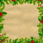 Gränsen grantree grenar med guldstjärnor och gamla papper — Stockvektor