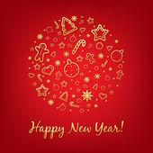 Carta rossa e felice anno nuovo con icone — Vettoriale Stock
