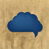 Discurso azul burbuja con papel vintage — Vector de stock