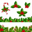 Borders Fir-tree With Holly Berry — Stock Vector