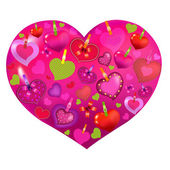Valentines Day Card With Color Hearts — Stock Vector