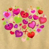 情人节卡与多彩的心和旧的纸 — 图库矢量图片