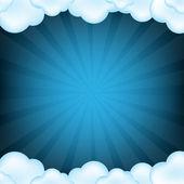 Blå moln och sunburst — Stockvektor