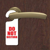 Do Not Disturb Sign With Door Handle And Wooden Background — Stock Vector