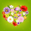 Heart From Flowers With Green Background — Stock Vector