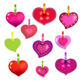 Color Hearts With Clothespegs — Stock Vector