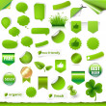 Big Green Labels Set — Stock Vector