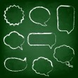 Green Chalk Board With Speech Bubble Set - Stock Vector