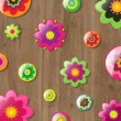 Wooden Background With Flowers — Image vectorielle