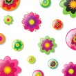 Stock Vector: Background With Cartoon Flowers